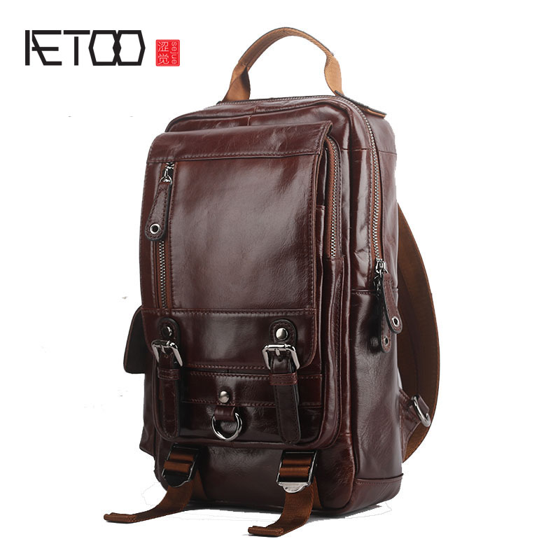 AETOO New shoulder bag men fashion leisure travel large capacity first layer oil wax cowhide men