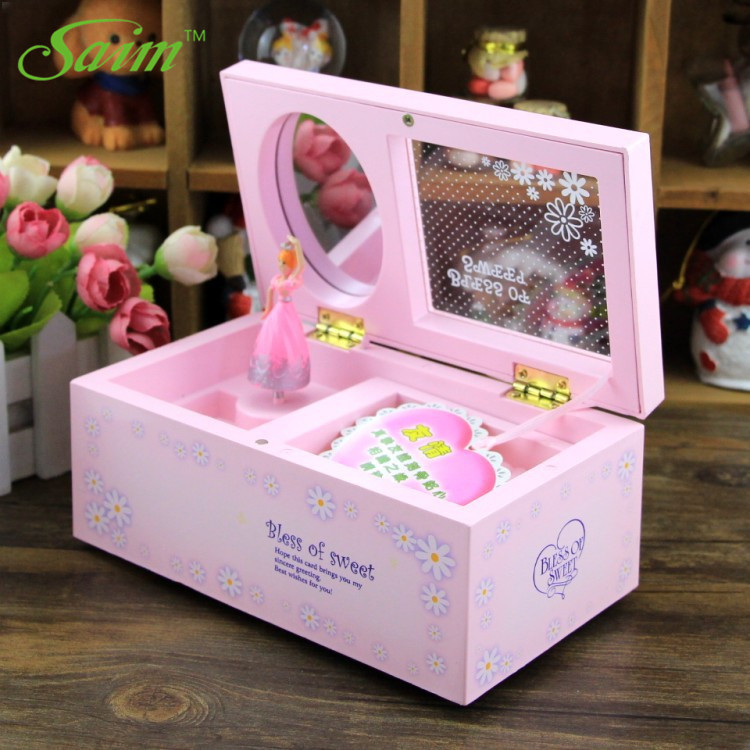 Saim Plastic Casket Music Box Creative Music Jewelry Box Rectangle Musical Box Rotating Dancing Girl Music