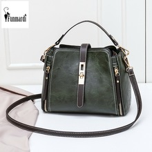 FUNMARDI Vintage Bucket Shoulder Bags Women Handbags Fashion PU Leather Crossbody Bag For Women Zipper Design Lady Bag WLHB1935
