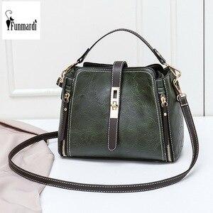 Image 1 - FUNMARDI Vintage Bucket Shoulder Bags Women Handbags Fashion PU Leather Crossbody Bag For Women Zipper Design Lady Bag WLHB1935