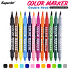 Superior 12 Colors Dual Tip Fineliner Art Markers Water-Based Ink Drawing Artist Brush Sketch Marker Pen For Manga Art Supplies