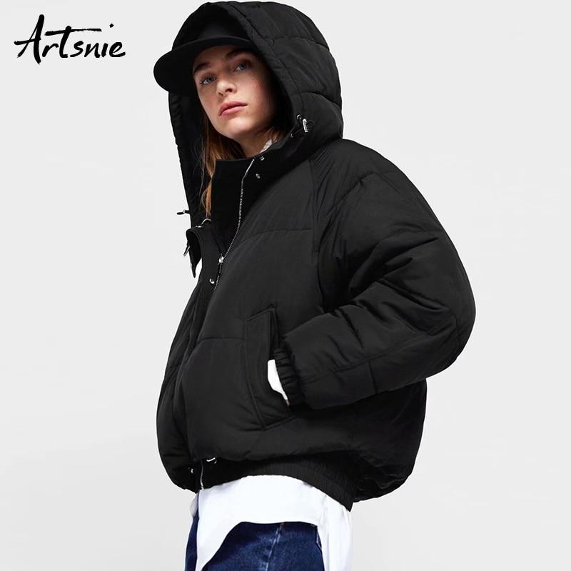 Artsnie Black Casual Thick   Parkas   Women Autumn Winter Hooded Long Sleeve Casaco Feminino Girls Jackets Coat Chaquetas Mujer 2018