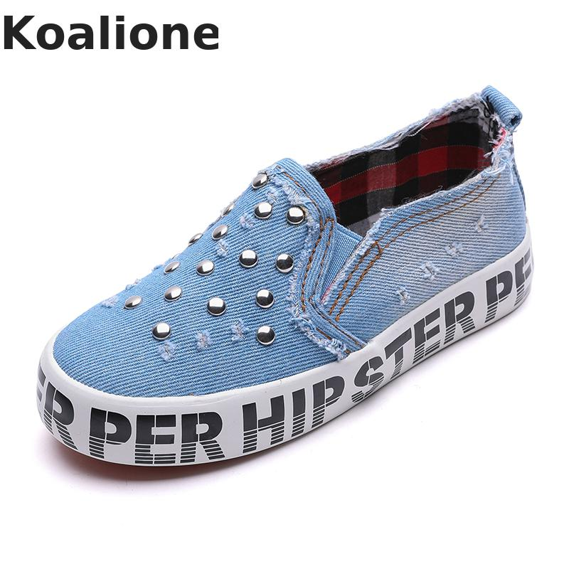 Kids Shoes For Girls Baby Jeans Canvas Shoes Children Shoes Running Sports Sneakers Fashion Baby Boys Rivet Denim Loafers School