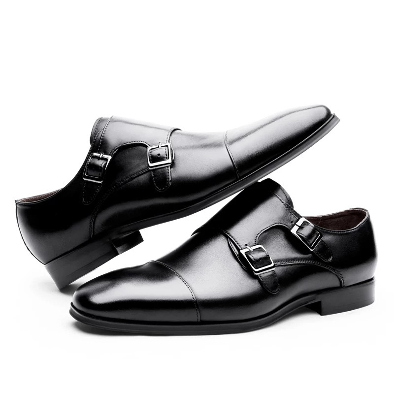 Leather Shoes For Men Wedding Office Dress Shoes Handmade Monk Strap Formal Shoes Men Casual Leather Footwear