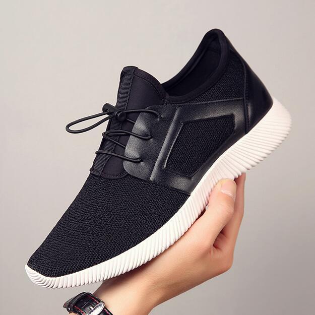 Mens casual shoes breathable Men Sneakers Summer Fashion Breathable Mesh Shoes Lace Up Shoes Gray Black Flat Zapatos de hombre