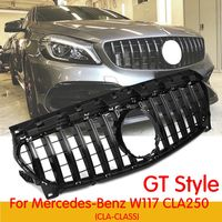 CLA W117 GT style Grille for Mercedes Front Grill for CLA Class Mercedes W117 CLA250 ABS grill front bumper grille black/silver