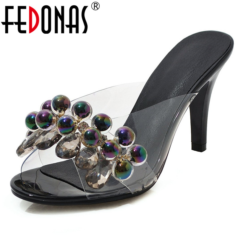 FEDONAS 2019 Women Pumps String Bead Decoration Transparency Film Sweet Sandals Prom Party Summer High Heels