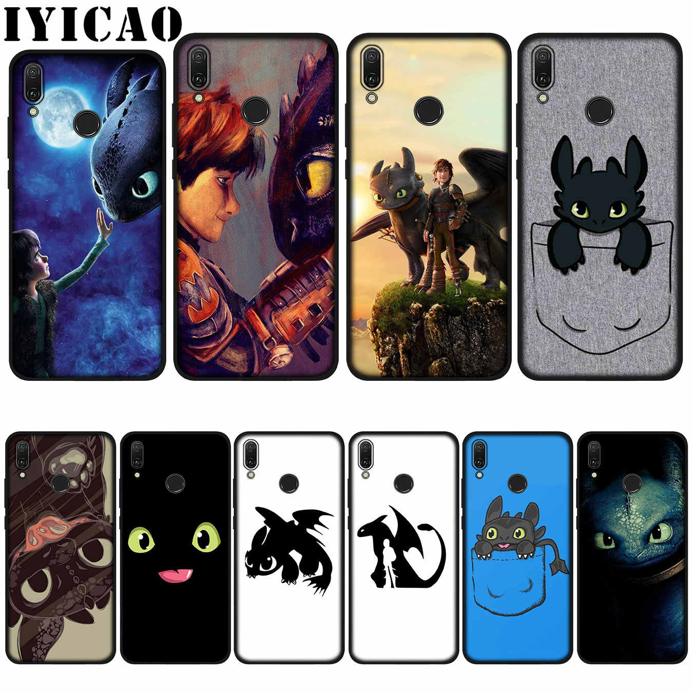 IYICAO Senza Denti Train Your Dragon Custodia Morbida per Huawei P20 Pro P10 P8 P9 P30 Lite Mini 2017 P di Smart 2019 Copertura
