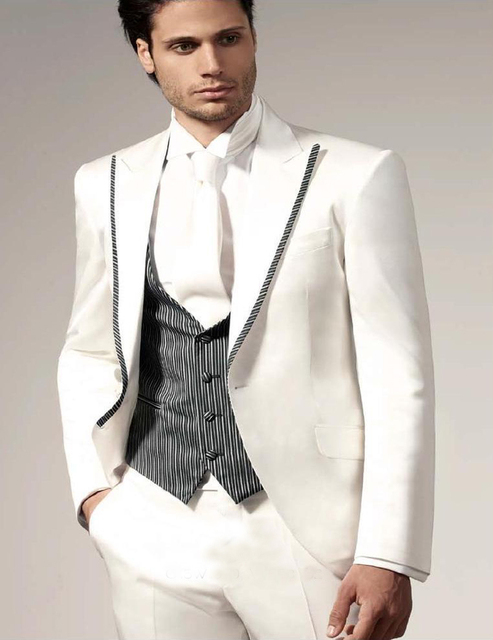 Custom Made White Suits Lapel wedding suits Tailcoat Tuxedo groom ...
