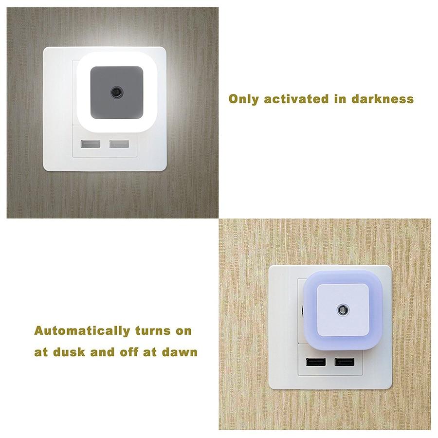 1Pcs Mini Auto Sensor Smart LED Luces nocturnas AC110V-240V Luz de - Luces nocturnas - foto 5