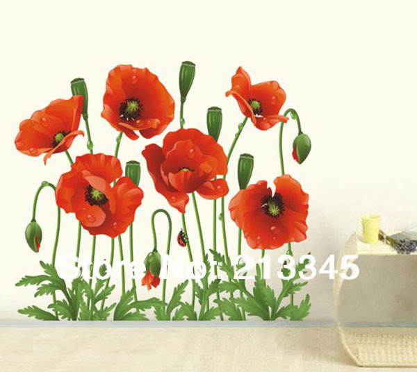Red poppy wallpaper reviews online shopping red poppy for Interieur stickers