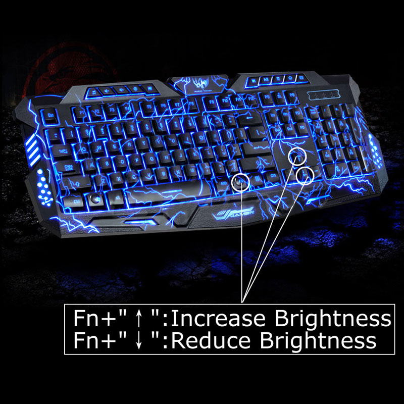 English Version Waterproof Backlight LED Professional Gaming Keyboard M200 USB Wired Powered Full Key For PC Computer Peripheral