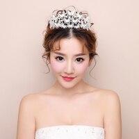 New Fashion Simulated Pearl Tiara Crown Korean Butterfly Design Princess Headpieces Bridal Wedding Hairband Girls Birthday