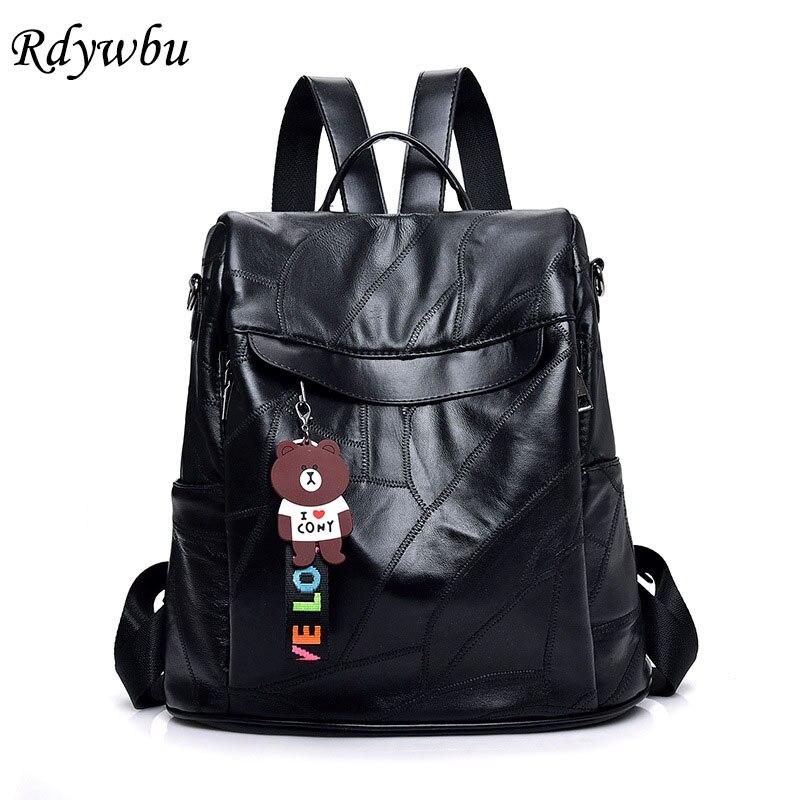 Apprehensive Rdywbu Antitheft Genuine Leather Backpack Women Luxury Sheepskin Travel Bag Girls New Fashion Black Bag Pack Mochilas Mujer B608 Women's Bags Backpacks