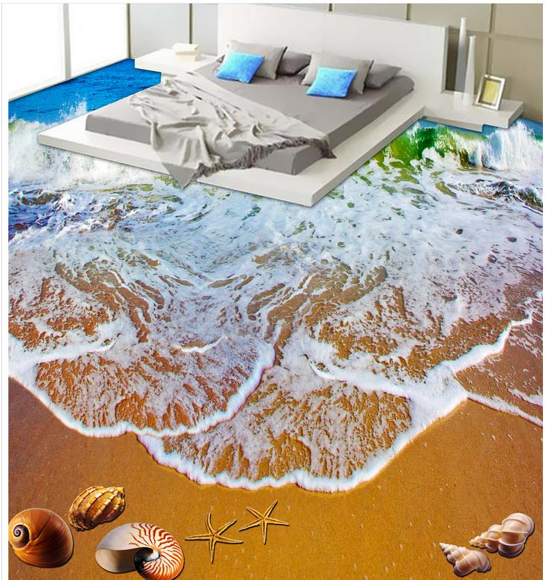 Buy 3d floor wallpapers beautiful beach for Bathroom floor mural