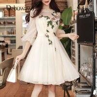 Dabuwawa Beige Spring Summer 3/4 Sleeve Chic Dress Elegant A Line Mesh Flowers Dress Sexy O Neck Mini Dress