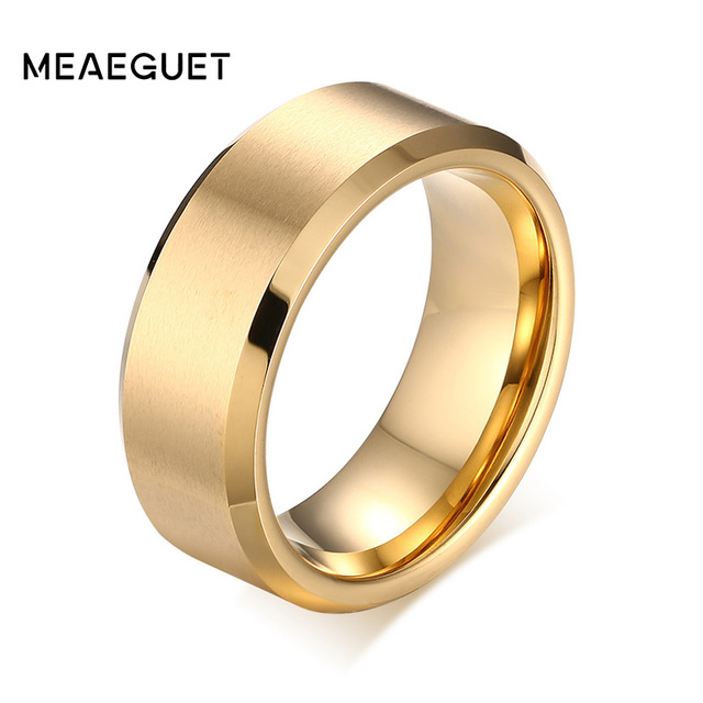 Tungsten Wedding Rings.Us 6 55 18 Off Meaeguet 8mm Wide Solid Gold Color Tungsten Wedding Rings For Men Jewelry High Quality Tungsten Carbide Rings Wedding Bands In