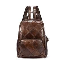 100% гарантия натуральная кожа сумка Винтаж Лоскутная Кожа Женщины Рюкзак Свободного Покроя из натуральной нешлифованной кожи женские дорожные сумки