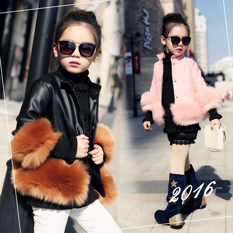 2016 Children Fashion Child Cotton-padded Clothes New Winter Winter Jacket Of The Girls Hair Hem Imitation Leather Children's
