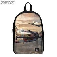 VEEVANV Men School Bag Model Plane Printing Backpack Teenager Shoulder Bag Boys Canvas Backpacks Fashion Rucksack