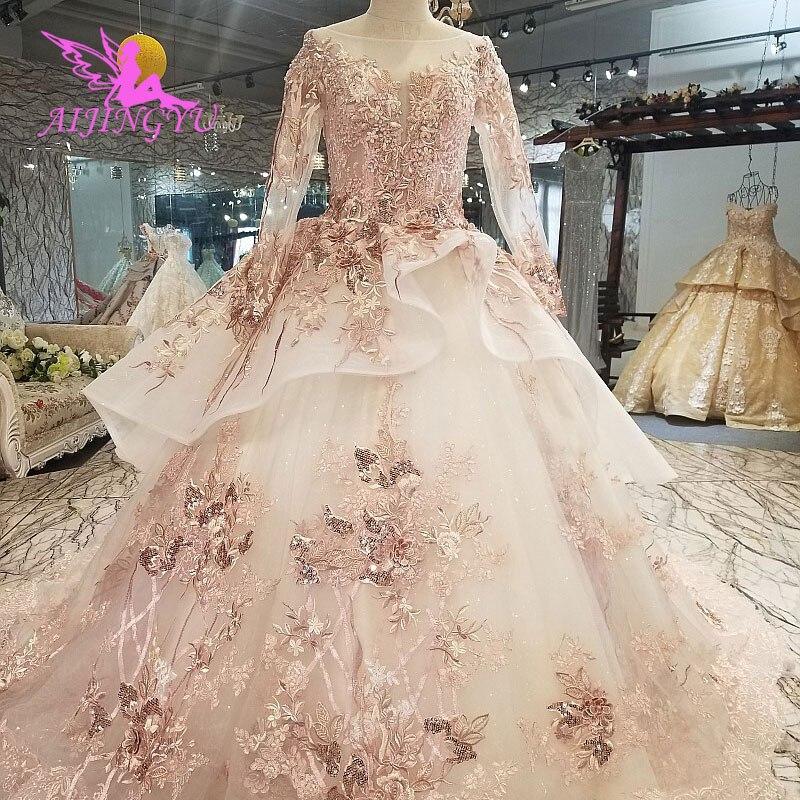 AIJINGYU ウェディングドレス手頃なウェディングドレスブライダルで列車ヴィンテージアイボリーウェディングドレスアリババ