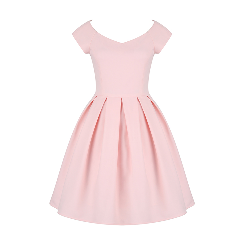 Pink Sexy Large Peach Heart Shaped Neck Formal Women's Dresses Retro Hepburn Stylish Dress Knee Length Classical Vestidos