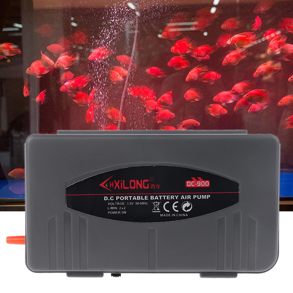 Aquarium Battery Operated Fish Tank Air Pump Aerator Oxygen With Air Stone 2W US