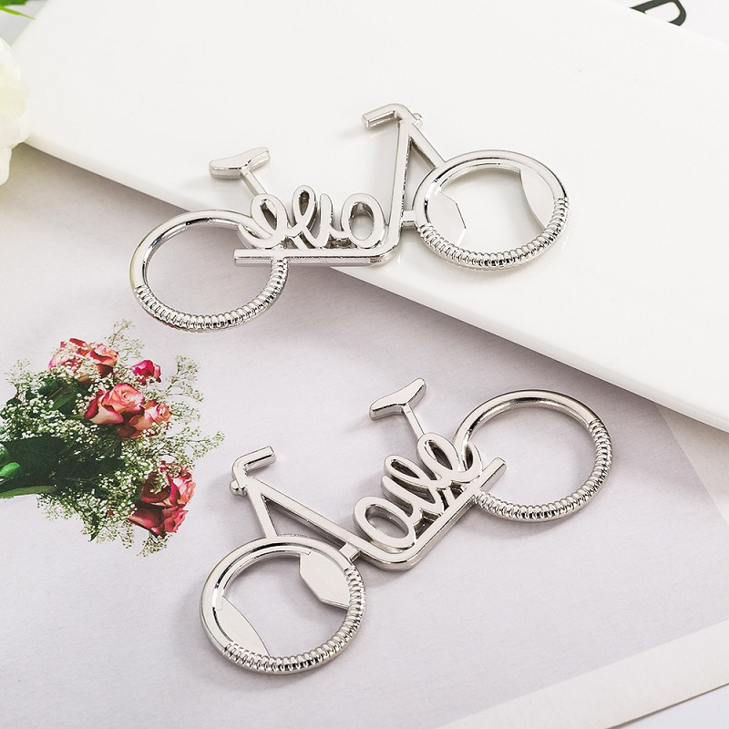 100pcs New Creative Metal Love Bicycle Beer Bottle Opener Wedding Favors Promotional Gifts Kitchen Bar Tools WB32