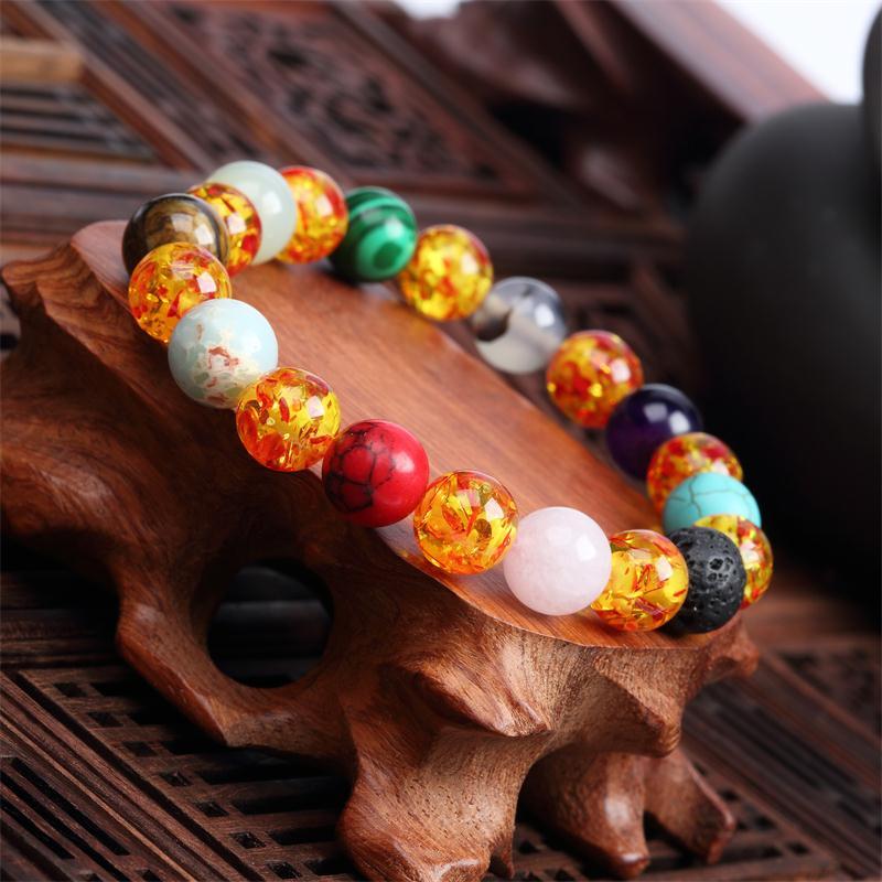 Meajoe трендовый натуральный камень любовь фиолетовый браслет из бисера Винтаж Шарм круглая цепь бисер браслеты ювелирные изделия для женщин друг подарок - Окраска металла: model 4