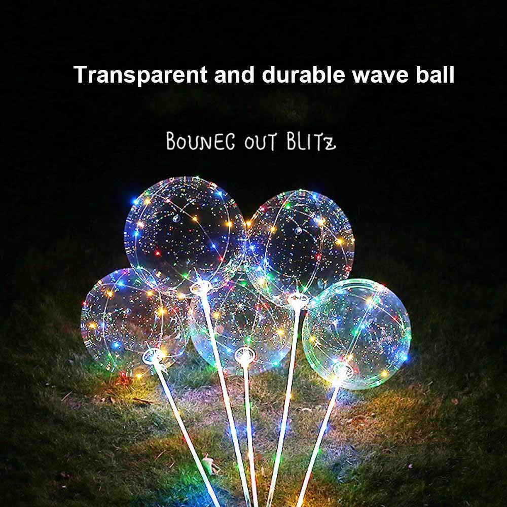 5pcs Reusable Helium Luminous Led Balloon Transparent Luminous Balloons Wedding Decoration birthday party With Hand Shank