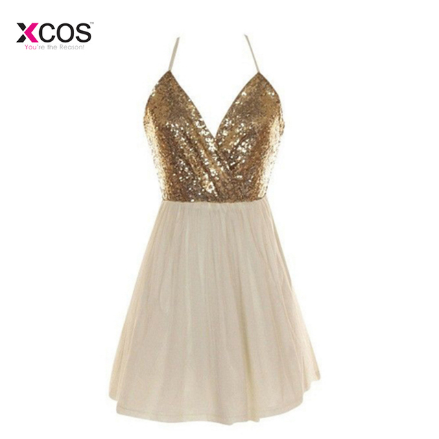 48c4bcfaa85 Cheap Short Homecoming Dresses 2018 Sexy Gold Sequined Ivory Tulle 8th  Grade Graduation Prom Party Gown