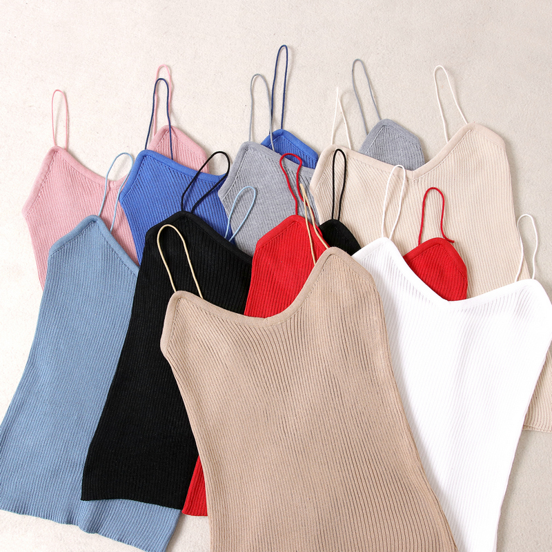 Summer Women Slim Knitting   Tank     Tops   Camises Girls Knitted Basic Knitwear Camisole Sleeveless Sweater Tee shirts Camis Female