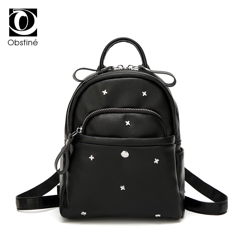 Small Backpacks Female Black PU Leather Back Pack for Girls Mini Backpack Rivet Bag Women Fashion Ladies Bagpack with Zipper jxsltc womens pu leather rivet backpack female backpack for adolescent girl casual small backpacks women pouch fashion lady bag