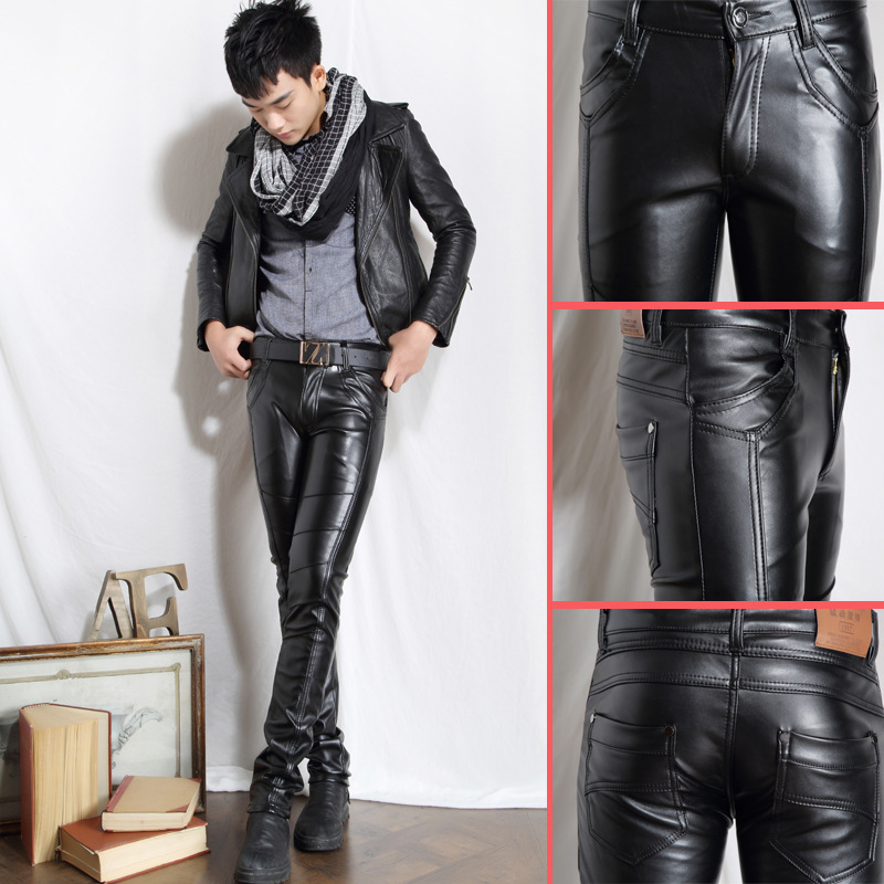 Autumn/winter 2019 Men Leather Pants Cultivate One's Morality Feet Pants Leisure PU Leather Pants HO