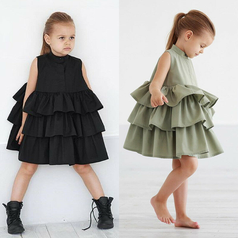 CANIS Brand Toddler Kids Baby Party Sleeveless Princess Ruffle Solid Color Tutu Princess Formal Dress Girls Clothes