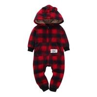 Free Shipping 2018 Kid Boys Long Sleeve Hooded Fleece Jumpsuit Red Plaid Casual Style Newborn Boy