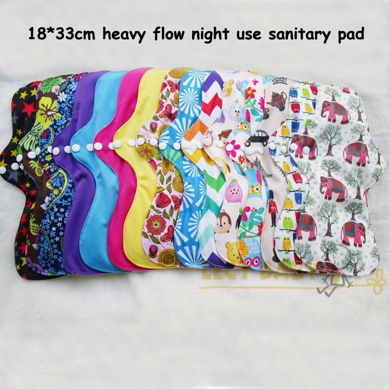 Free shipping 1pc washable heavy flow night use Feminine Hygiene cloth menstrual pads sanitary pad with