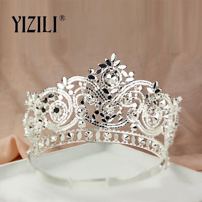Купить с кэшбэком YIZILI New European Big Bride Wedding Crow AB Full Diamond Crystal Large Round Queen Crown Wedding Hair Accessories paty C060