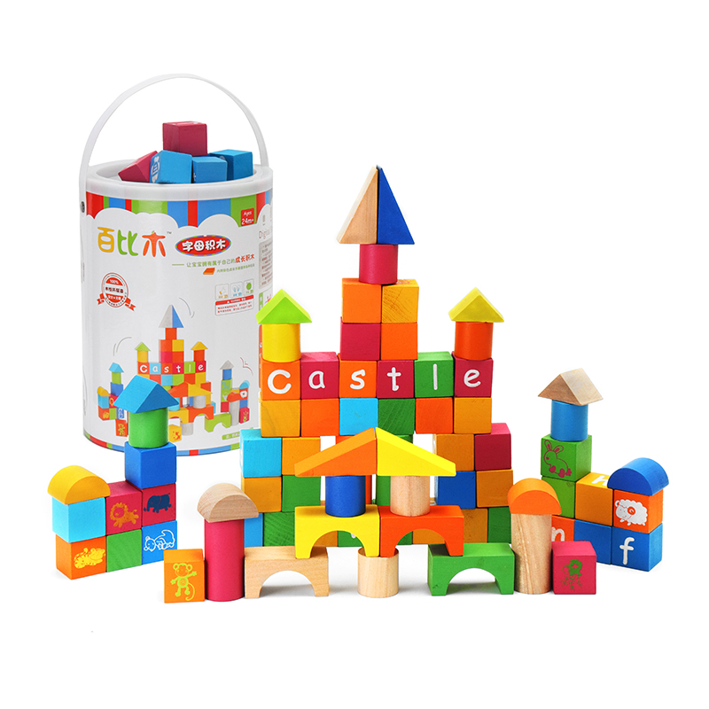 Umu 80 Pieces Colorful Wooden ABC Letter Alphabet Scrabbles Number Craft English Words B ...