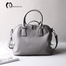 MORESHINE Brand Genuine cow Leather women Handbag High grade Shell Crossbody Shoulder Bag Female Natural texture