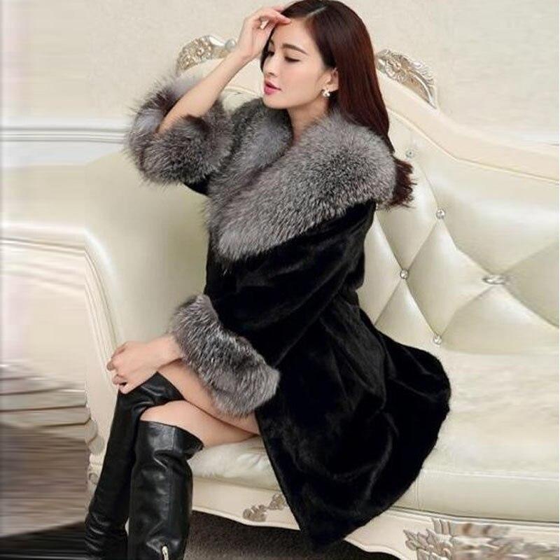 4xl 5xl grand gris renard col de fourrure vison manteau de fourrure d 39 hiver femmes long manteaux. Black Bedroom Furniture Sets. Home Design Ideas