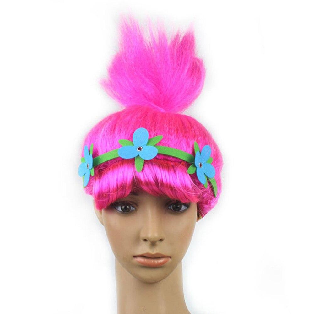 2018 Trolls Cosplay Kids Hairs Hat with Hairband trolls headpiece cap headwear cosplay accessary