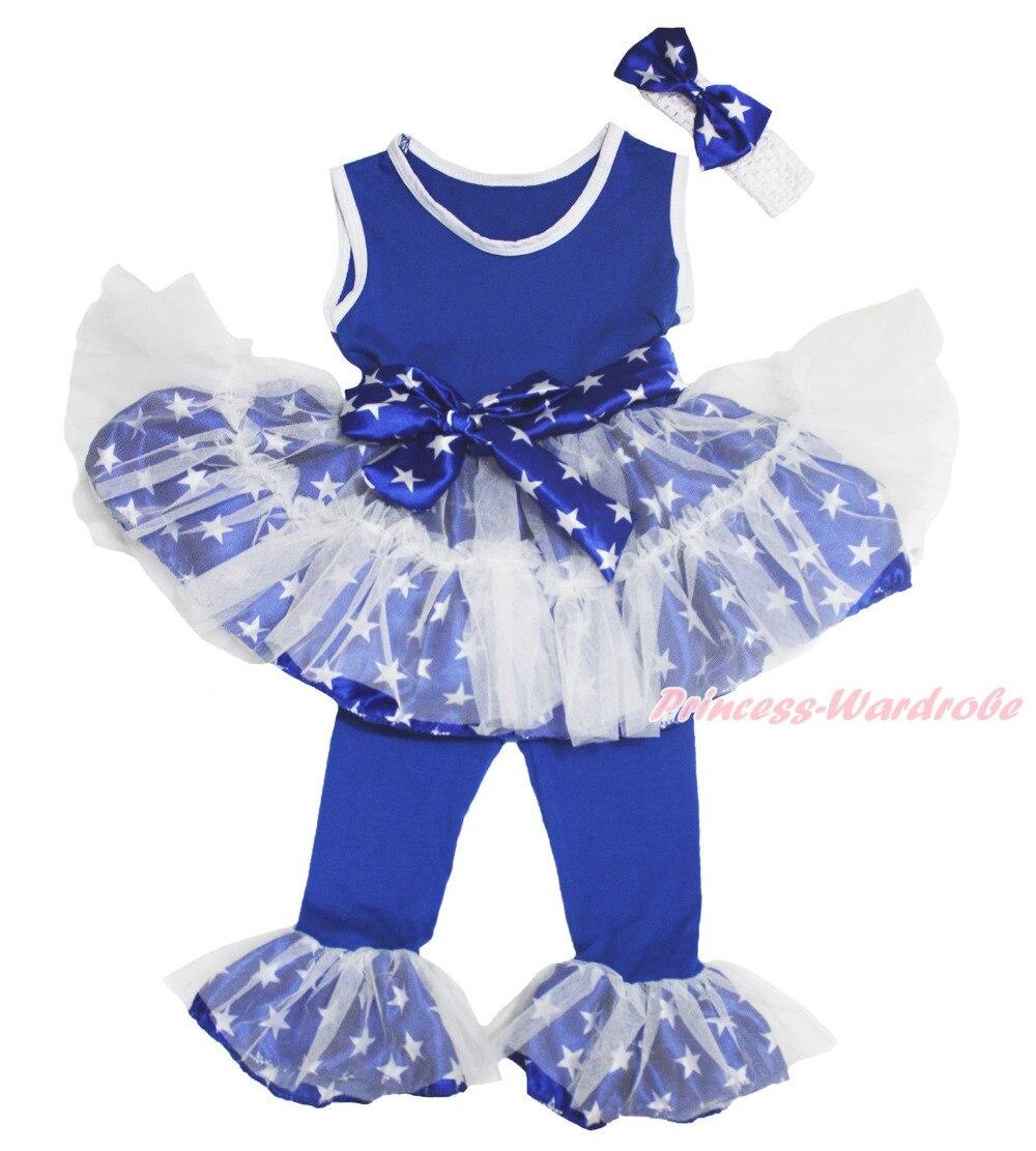 4th July Blue Patriotic Star Top Vest Dance Ruffle Tutu Dress Pants Girl 1-8Year MAPSA0685 4th july america flag style stripe pettiskirt white ruffle tank top 2pc set 1 8year mamg1143