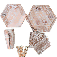 16SET Rose Gold Wedding Disposable Paper Plates Cups Napkins Straws Vintage Party Tableware for Birthday Baby Shower Supplies