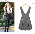 Summer Formal High Waist Suspender Dress Grey Pleated Herringbone V-Neck Back Zipper Pinafore Dress