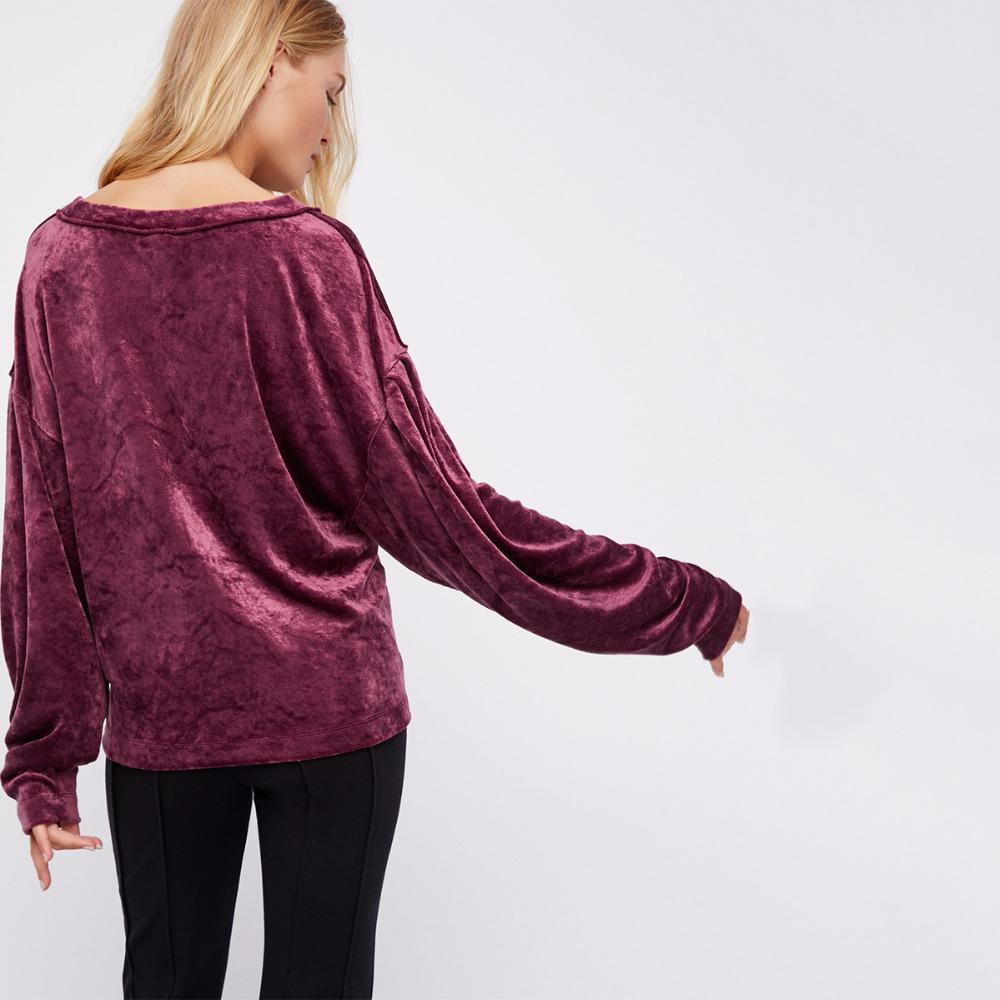 Purple Long Sleeve Velvet Hoodies Sweatshirt