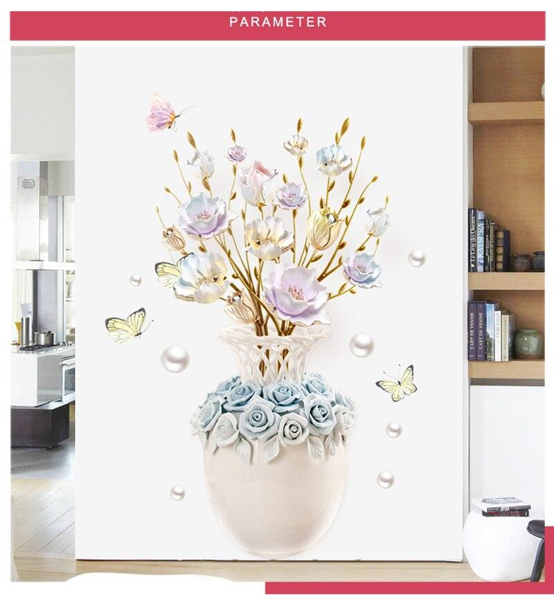 3d diy vaso flor adesivos de parede