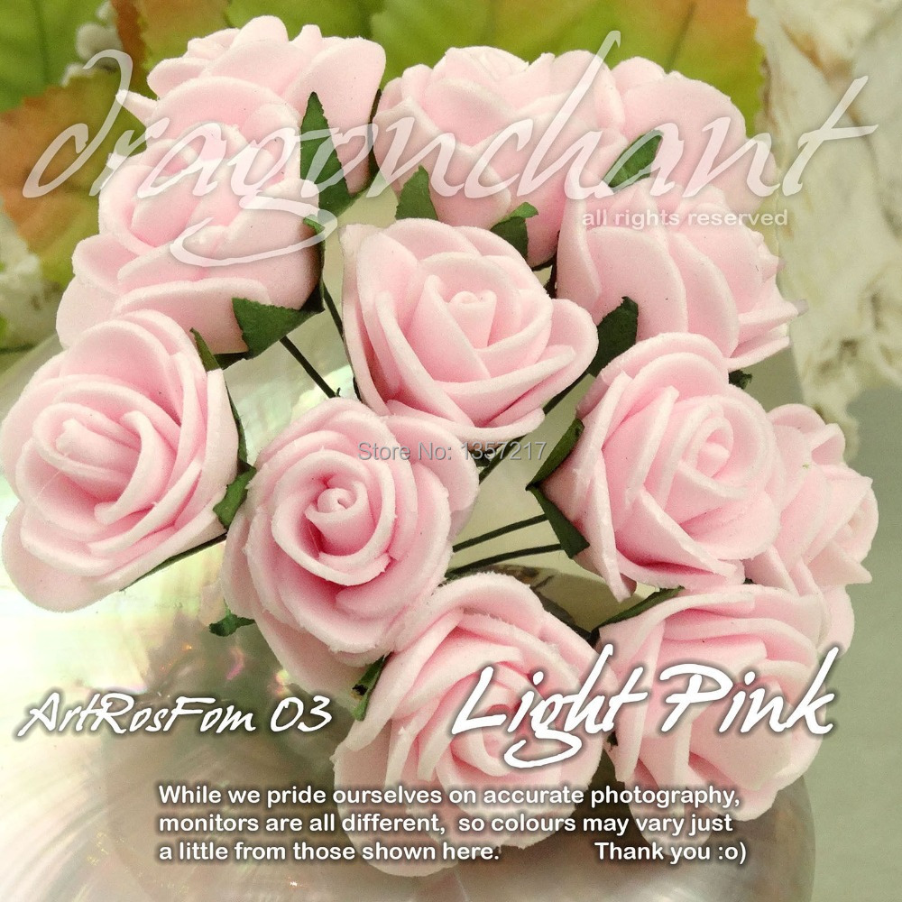 Free Shipping Size 20mm Head Solid Light Pink Color Pe Rose Foam