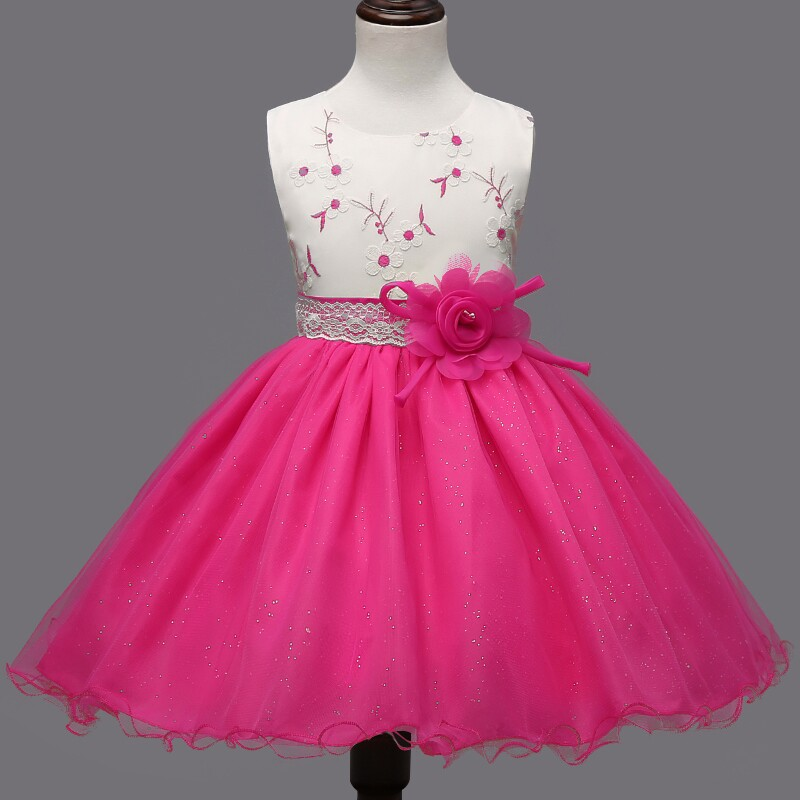 Fashion Latest 2016 Red Hot Pink Patchwork kd 9 Years Kids Birthday Party Girl Dresses Wedding r694 classy fashion hot latest wedding ring