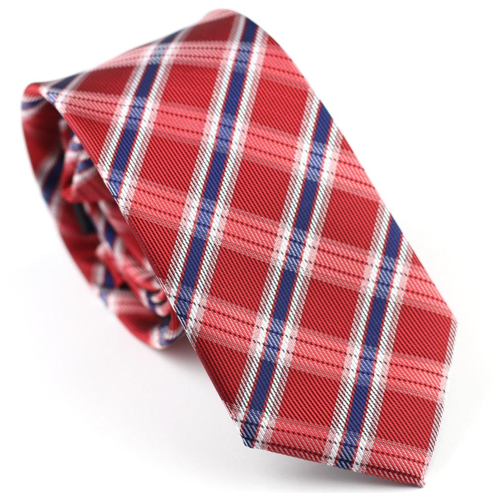 Traje para hombre Corbatas Nuevo diseño Rojo con azul / blanco Diagonal Plaid NeckTie Skinny Tie 7cm Camisas de vestir Cravat Gravatas plaid